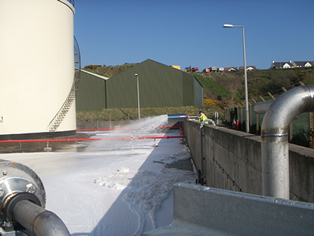 Albright Engineering Design Services - Project: Total Isle of Man,Fire defence project Foam pourers being tested.